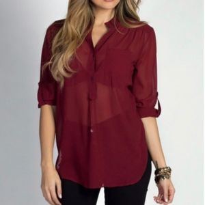 Free People Sheer Arm and Body Button Down